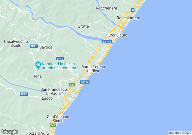 Map for Santa Teresa di Riva, Messina, Sicily