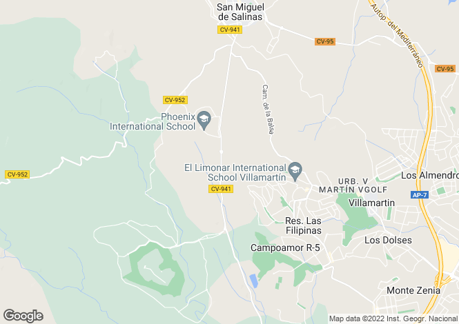 Map for San Miguel, Alicante, Spain