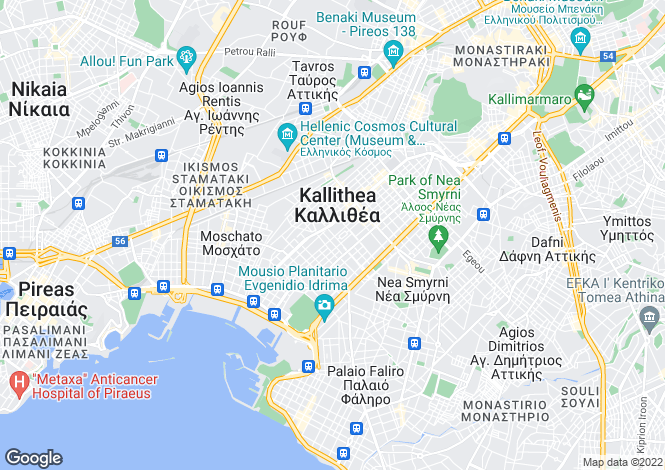 Map for Attica, Kallithea