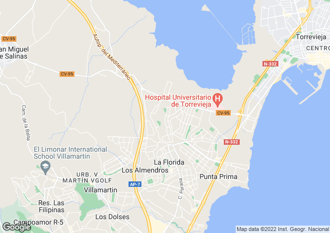 Map for Valencia, Alicante, Torrevieja