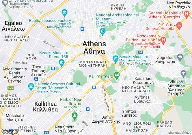 Map for Attica, Athens