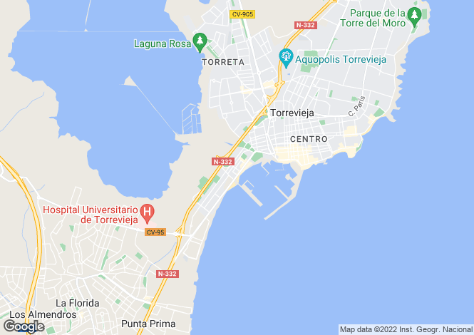Map for Spain - Valencia, Alicante, Torrevieja