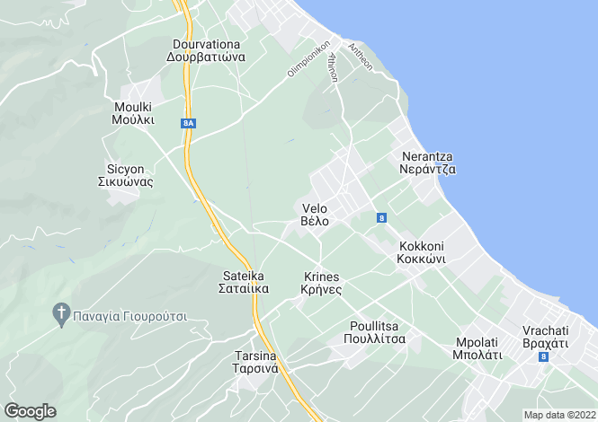 Map for Peloponnese, Corinthia, Velo