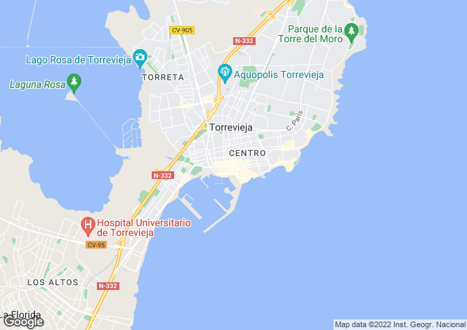 Map for Torrevieja, Alicante, Spain
