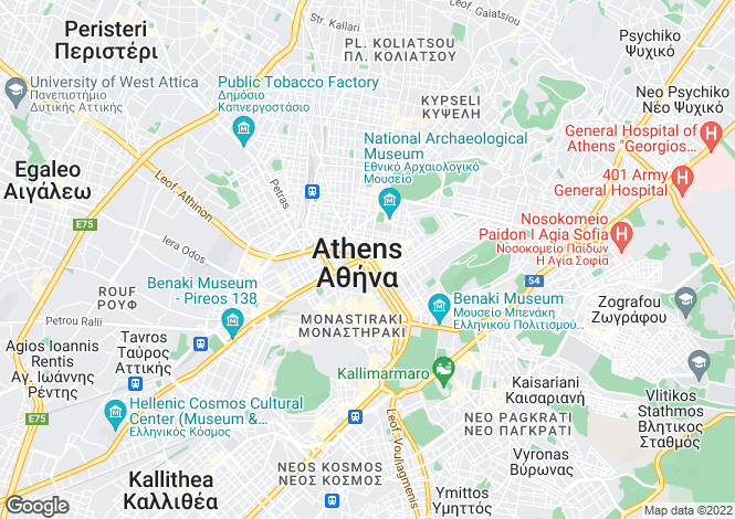 Map for Athens region, Mainland, Greece