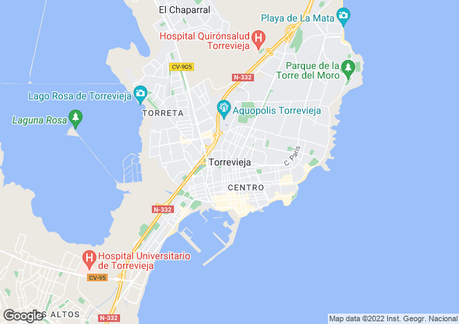 Map for Torrevieja, Alicante (Costa Blanca)