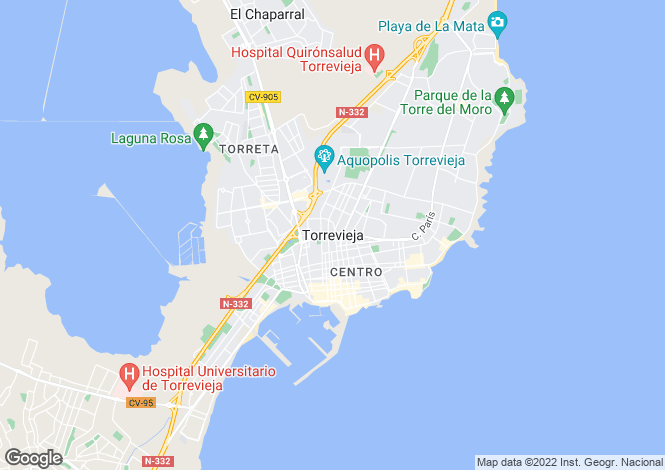 Map for Spain - Valencia, Alicante, Torrevieja