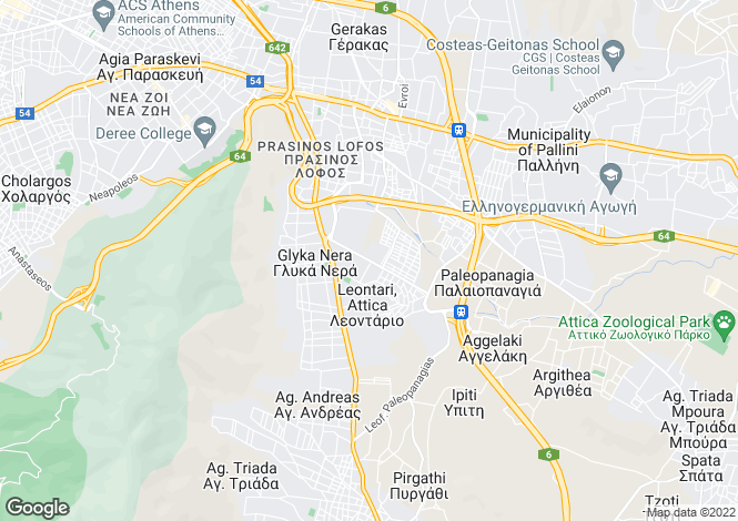 Map for Attica, Pallini