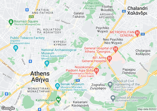Map for Attica, Zografos