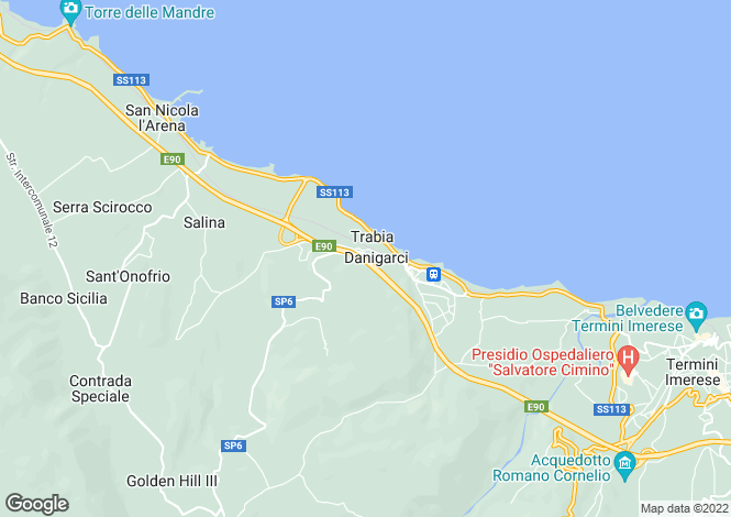 Map for Trabia, Palermo, Sicily