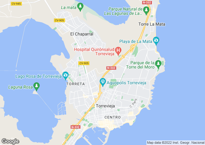 Map for Aguas Nuevas, Torrevieja, Alicante, Spain