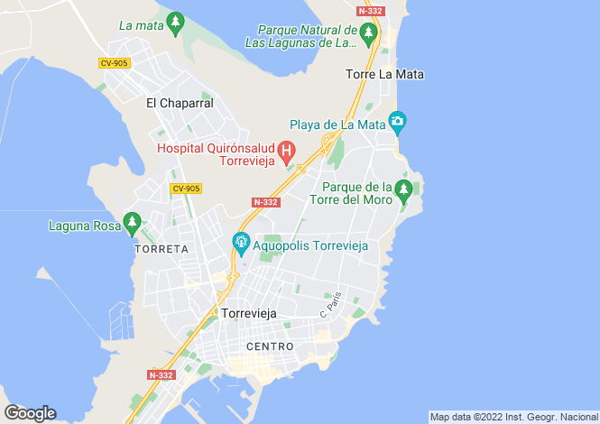Map for Aguas Nuevas, Torrevieja, Alicante, Spain