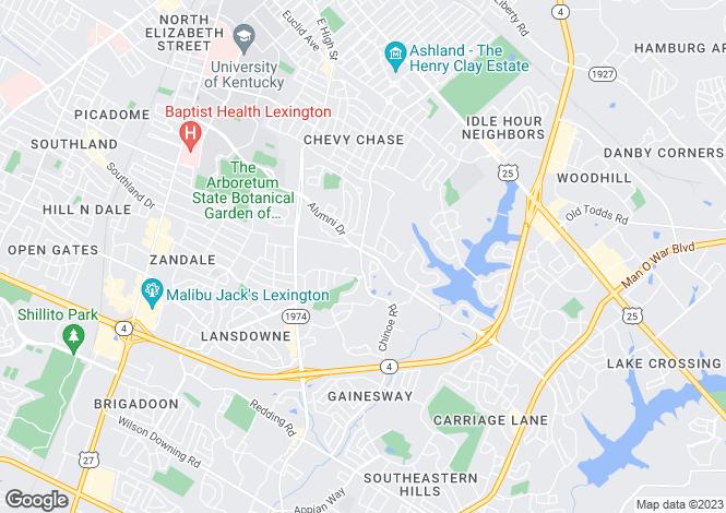 Map for USA - Kentucky, Fayette County, Lexington