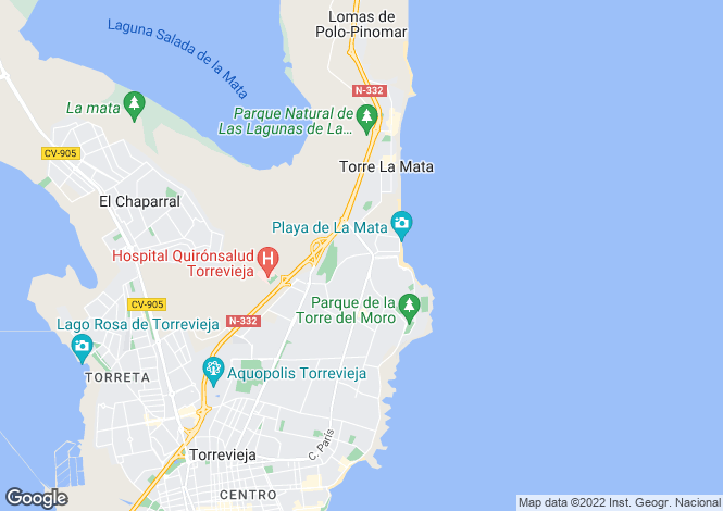 Map for Valencia, Alicante, Torrevieja