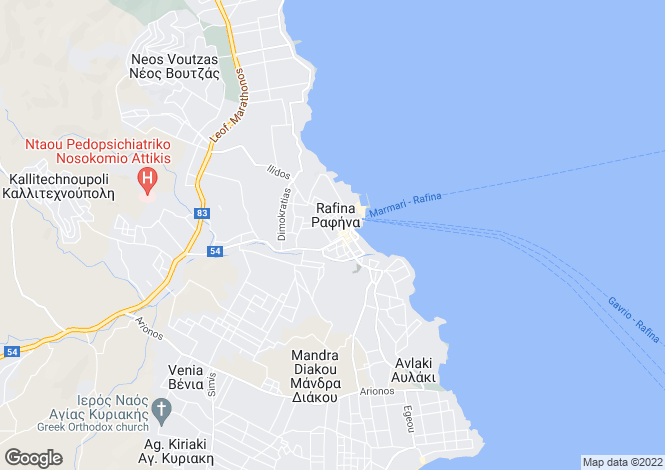 Map for Attica, Rafina