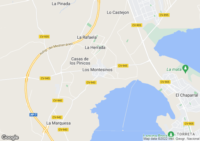 Map for Spain - Valencia, Alicante, Los Montesinos