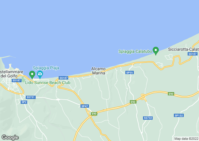 Map for Alcamo, Trapani, Sicily