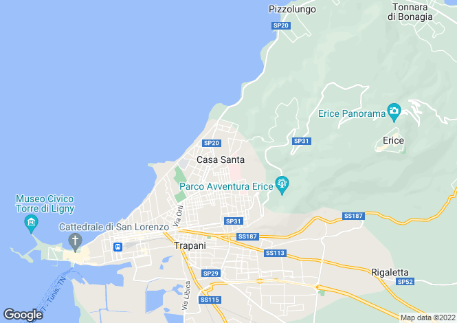 Map for Erice, Trapani, Sicily