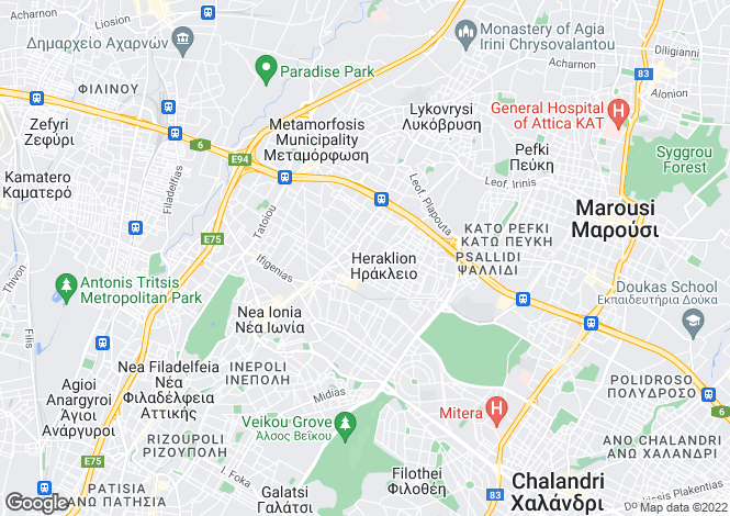 Map for Attica, Athens