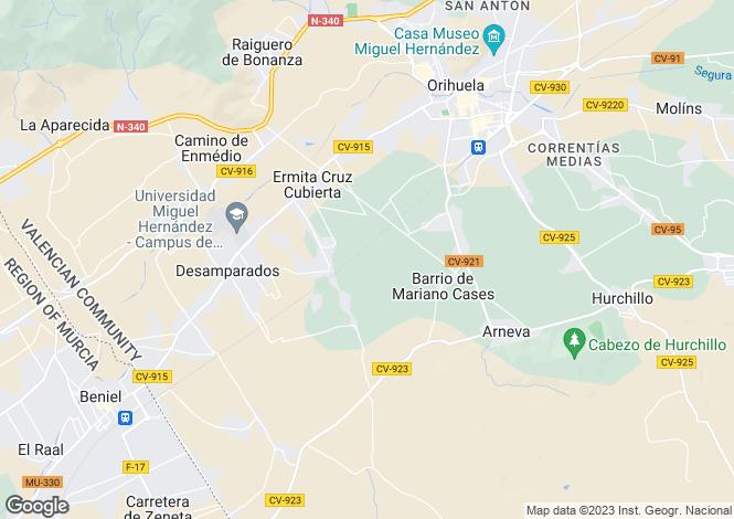 Map for Orihuela, Alicante, Spain