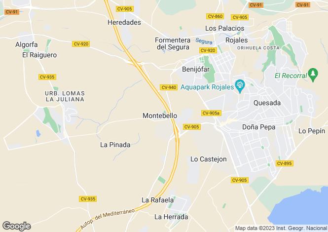 Map for Valencia, Alicante, Algorfa