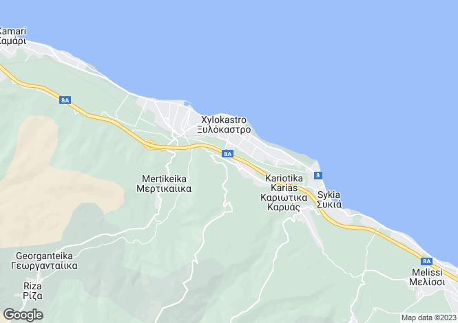 Map for Peloponnese, Corinthia, Xylokastro