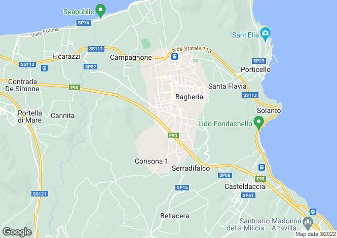 Map for Bagheria, Palermo, Sicily