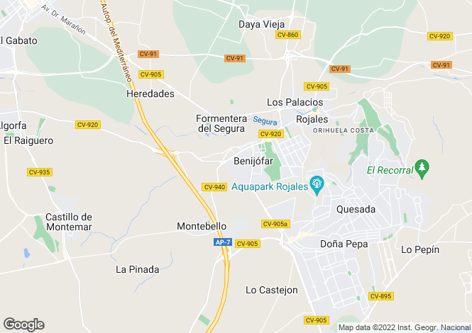Map for Valencia, Alicante, Benijofar