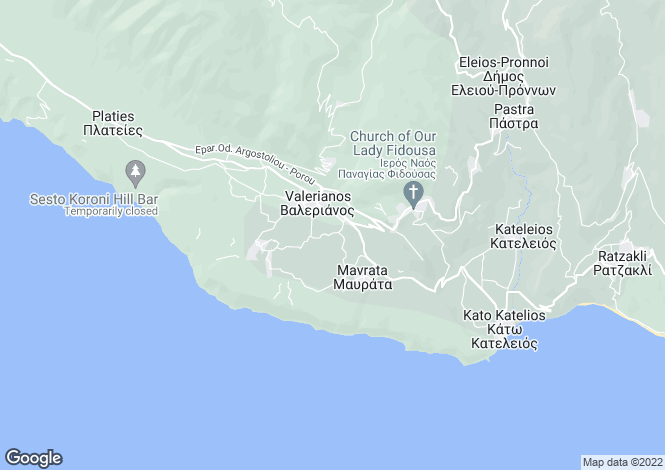 Map for Ionian Islands, Cephalonia, Chionata