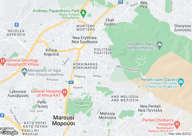 Map for Attica, Kifisia