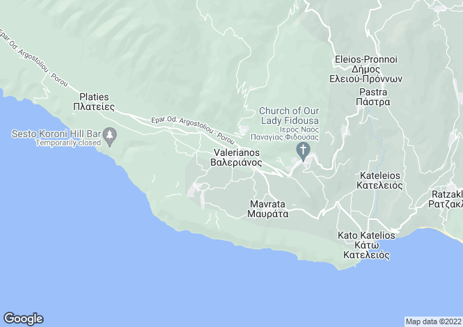 Map for Valeriano, Cephalonia, Ionian Islands