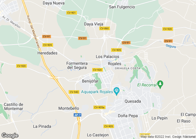Map for BenIjofar, Costa Blanca, Spain