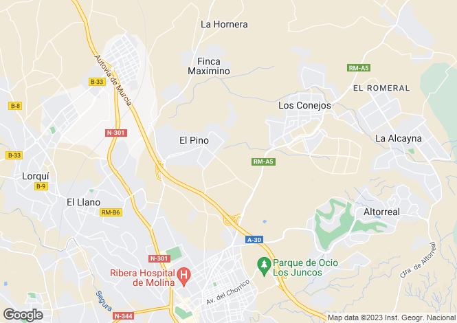 Map for Ojos, Murcia