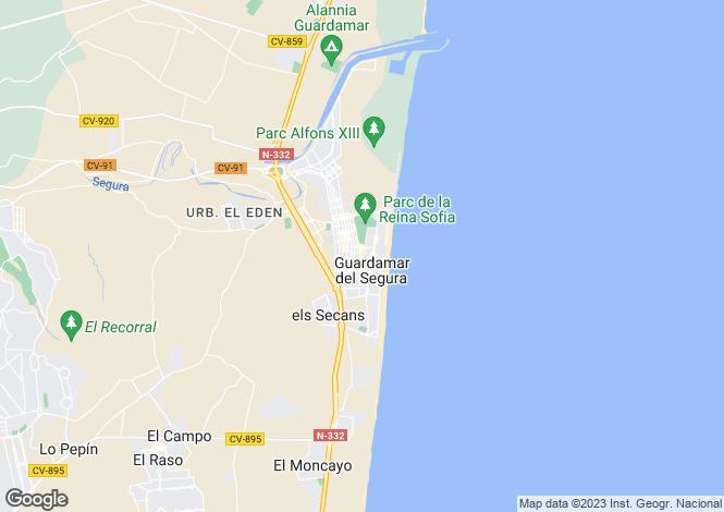 Map for Spain - Valencia, Alicante, Guardamar del Segura
