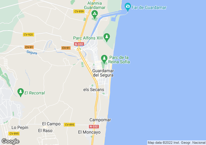Map for Valencia, Alicante, Guardamar del Segura
