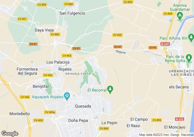 Map for Spain - Valencia, Alicante, Rojales