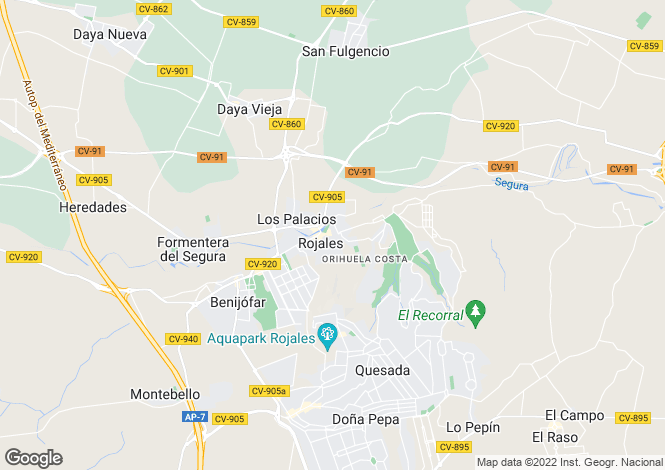 Map for Rojales, Alicante, Spain