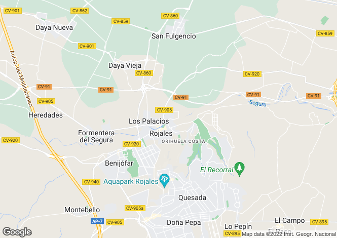 Map for Rojales, Alicante, Valencia