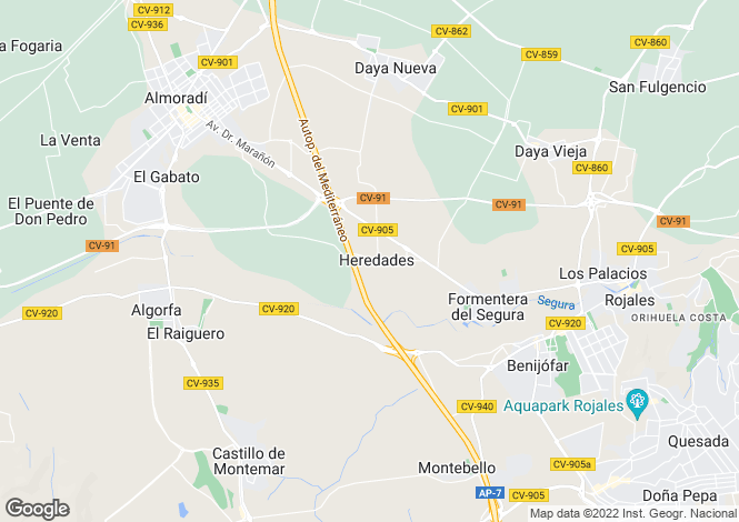 Map for Las Heredades, Alicante, Spain