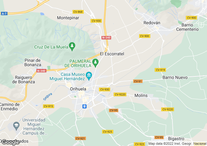 Map for Orihuela