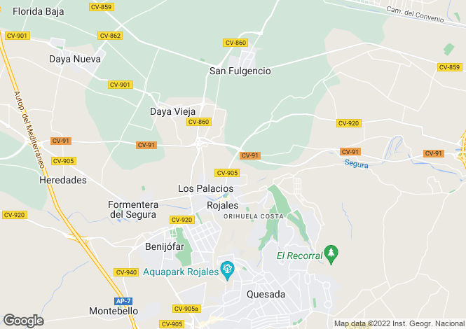 Map for Rojales, Costa Blanca, Spain