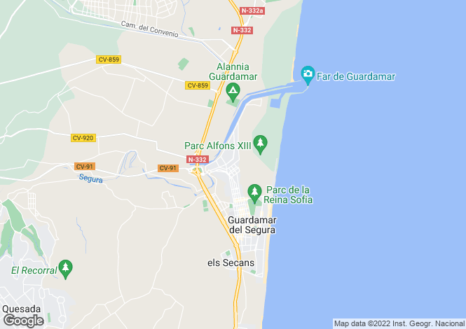 Map for Guardamar, Alicante, Spain