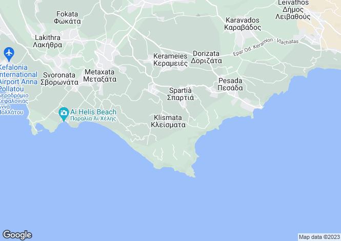 Map for Ionian Islands, Cephalonia, Klismata