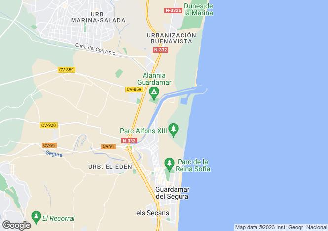 Map for Guardamar del Segura, Alicante, Valencia