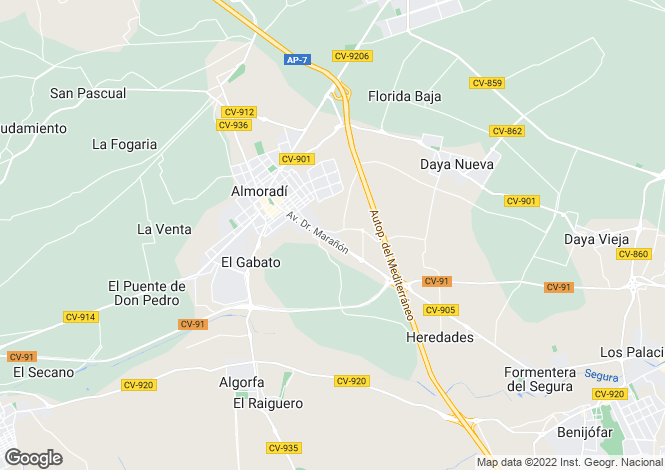 Map for Almoradí, Alicante, Valencia
