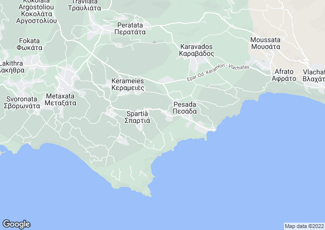 Map for Ionian Islands, Cephalonia, Kountourata