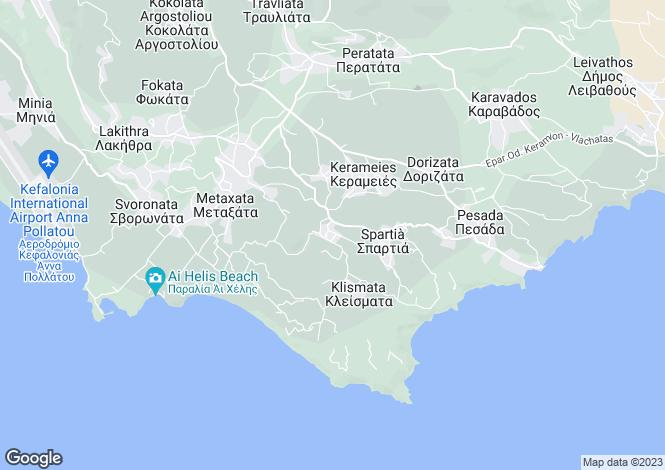 Map for Ionian Islands, Cephalonia, Koriana