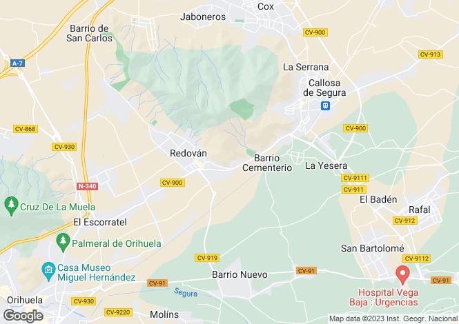 Map for Valencia, Alicante, Redován