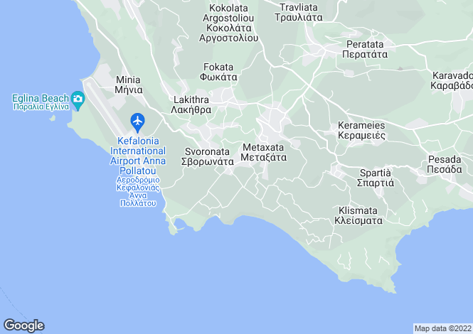 Map for Ionian Islands, Cephalonia, Domata