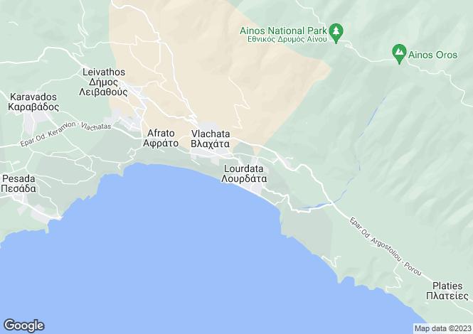 Map for Ionian Islands, Cephalonia, Lourdas